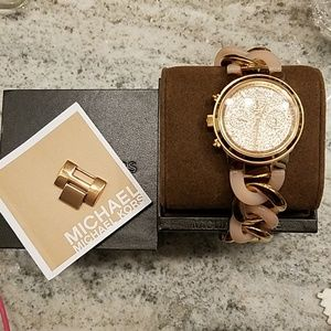 MK Rose Goldtone and Crystal Pave Chronograph
